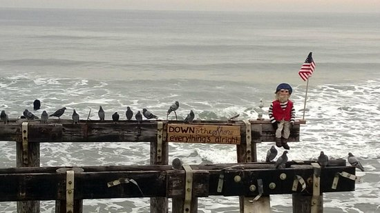 The Ocean Plaza: Only a wooden fisherman on the OG pier