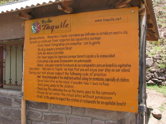 Rules for visiting Taquile Island