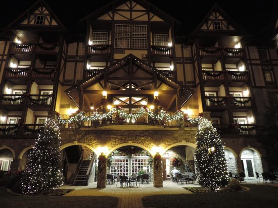 The Inn at Christmas Place: the outside at night