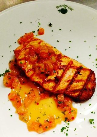 Pomodoro Grill : Grilled Atlantic Salmon, with a spicy, local ruby red grapefruit relish.
