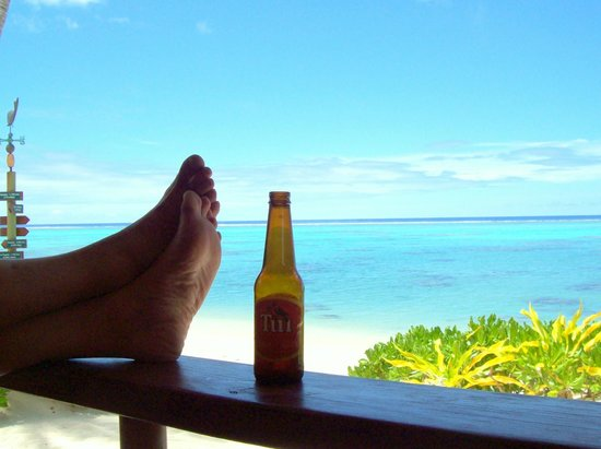 Rarotonga Beach Bungalows : From the porch - feet up with a local brew.