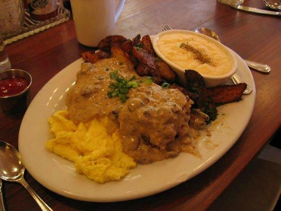 Screen Door : grits , vegan biscuit and gravy , egg and potatoes