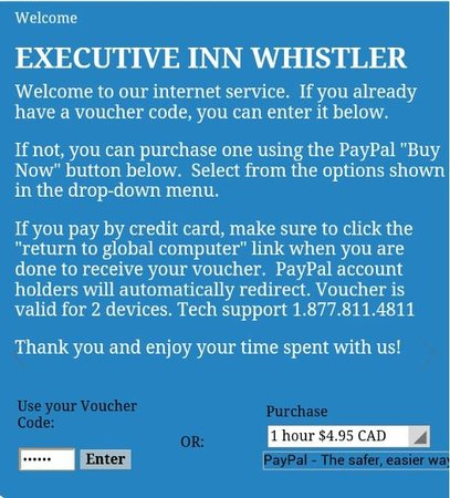 Executive Inn At Whistler Village: Expensive WiFi