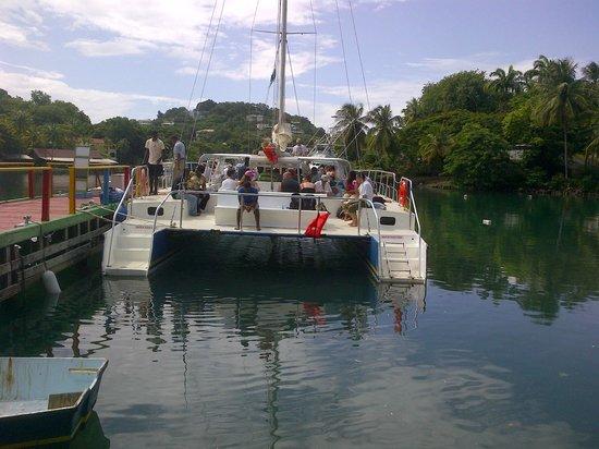 Pitons: Tomando el catamaran en Santa Lucia