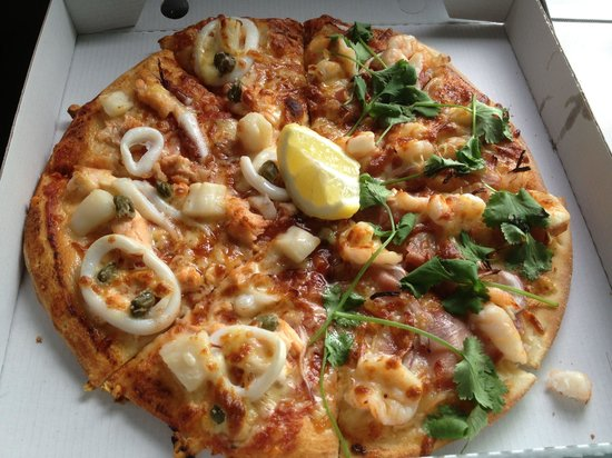 Vic Street Pizza Project: 1/2 Atlantic salmon and squid (left) and 1/2 prawn and pancetta (right)
