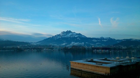 PALACE LUZERN: view from the room at the morning
