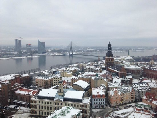 View of Riga from St Peter's Church Tower: View over the old town of Riga