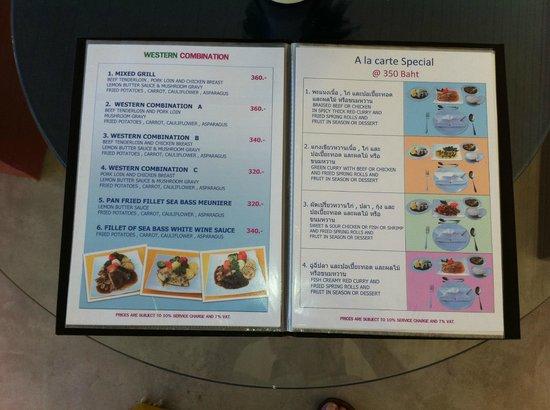 Cera Resort Chaam : lille del af spisekort