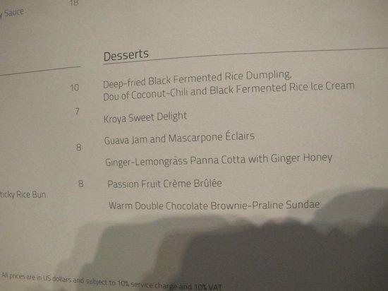 Kroya Restaurant: Dessert Menu