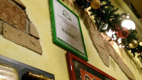 Da Vittorio a Trastevere : Die Tripadvisor Urkunde