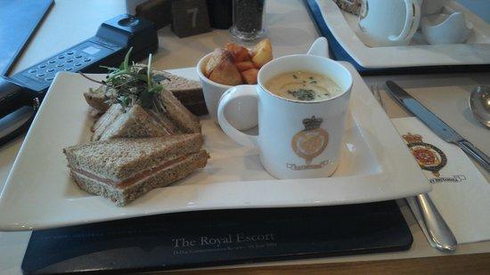 HMY Britannia: RY Britannia platter...note the cuppa soup mug appearance - but did taste superb