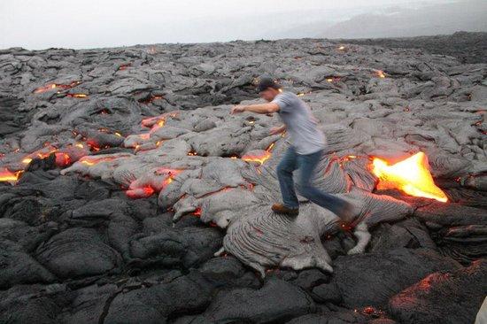 David Ewing Lava Walking Tours: Me walking on the freshly cooled lava