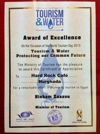 Hard Rock Cafe Hurghada : Award of Excellence