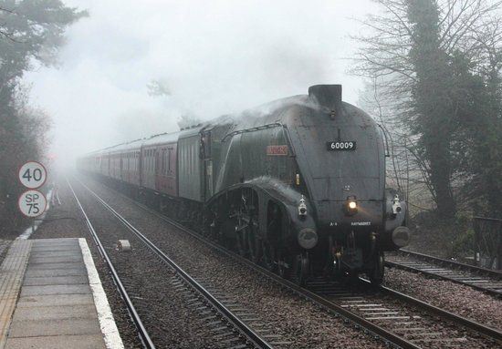 Wymondham's Station Bistro: Steam special passes the Bistro going to York