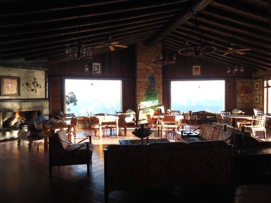 Hotel Divisadero Barrancas del Cobre: Lobby súper acogedor con chimenea...