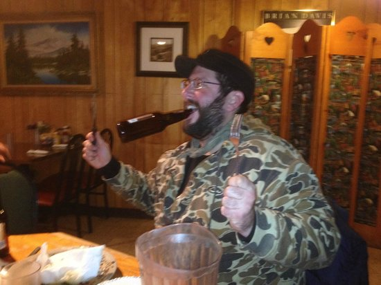 Ponderosa Cafe: Mike's ready for another beer!