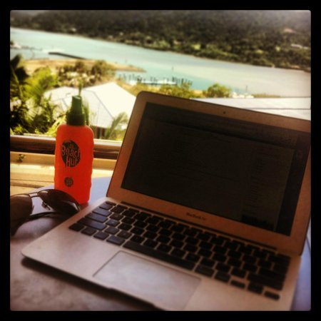 Peppers Airlie Beach: working from the cabana