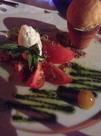 Tuna Blanca : First course, Mozzerela with Tomato Selection-note the Brioche in the clay pot