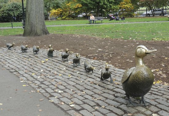 Boston Public Garden: A set of bronze statues based on the main characters from the children's story Make Way for Duck
