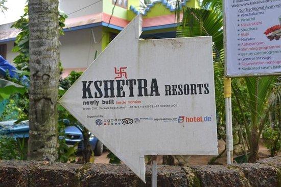 Kshetra Beach Resorts: При подъезде к отелю ведут указатели!