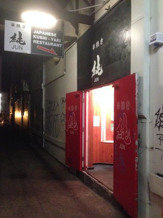 Jun: Unassuming Entrance down an Alleyway.