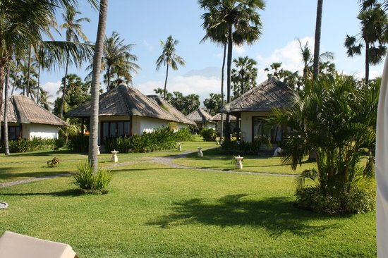 Kubu Indah Dive & Spa Resort: Villas and green in front of the pool and bar