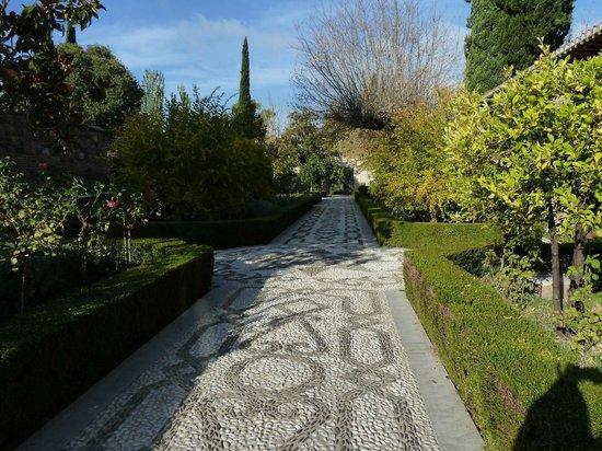 Parador de Granada: Looking back along the entranceway - from the hotel