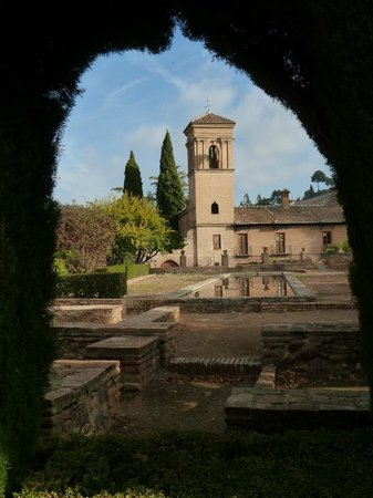 Parador de Granada: Looking back at the hotel from inside the Alhambra!