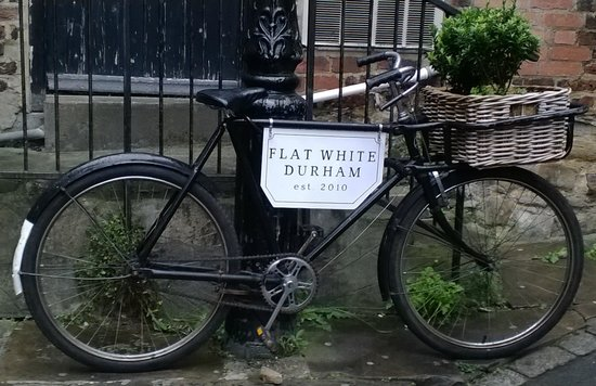 Flat White Durham Cafe : Sign out front.