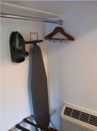 The Sunburst Calistoga: Real coat hangers, iron board, luggage storage rack