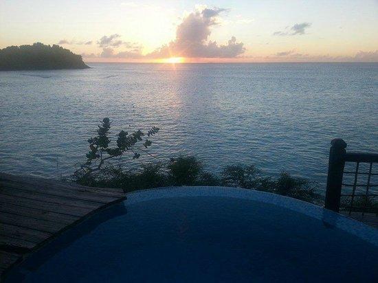 Sheer Rocks: Sunset on the plunge pool