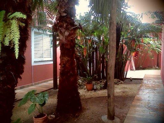 Pousada do Vovozinho : Jardim interno entre os dois Blocos de apartamentos , com cobertura