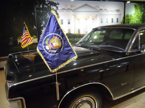 LBJ Presidential Library: The presidential limousine in the lobby (unarmored!)