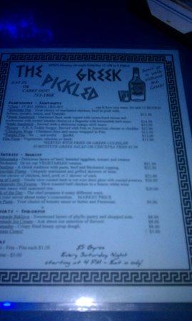 Pickled Greek: Menu2