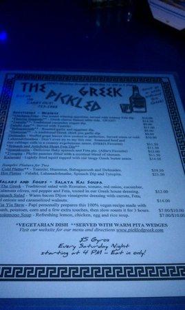 Pickled Greek: Menu1