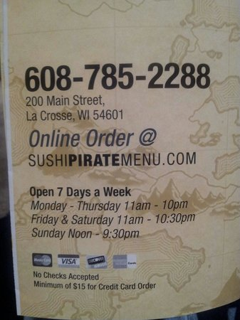 Sushi Pirate: Location and hours