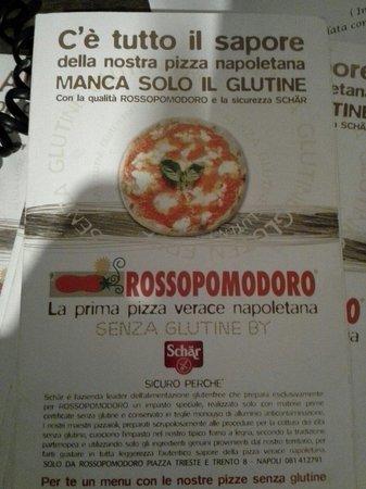 Rossopomodoro Napoli Centro: Menù senza glutine