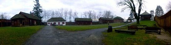 Fort Langley National Historic Site: panorama of the fort that includes most of the buildings