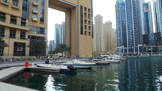 Address Dubai Marina: View of hotel from Marina
