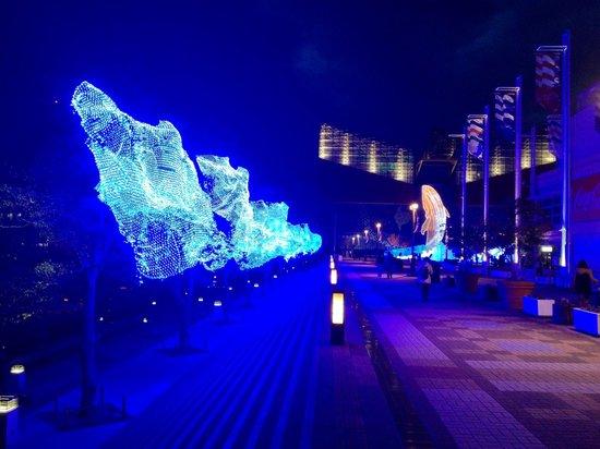 Osaka Aquarium Kaiyukan: Christmas light up outside Tempozan Marketplace.