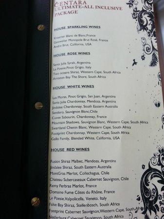 Centara Grand Island Resort & Spa Maldives: Standard wine list