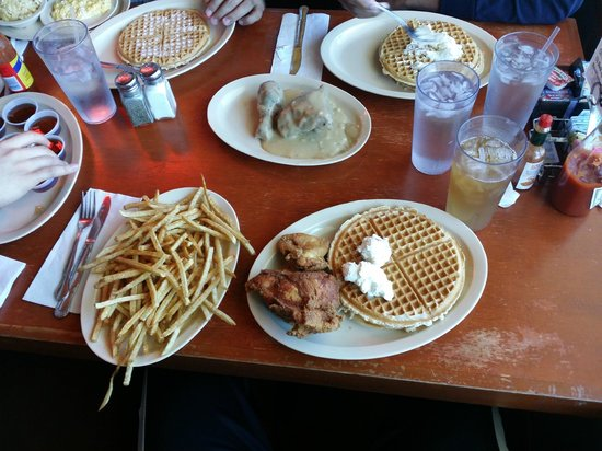Roscoe's House of Chicken & Waffles : Chicken and waffles with a side of fries