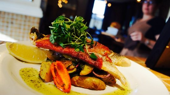 The Waterside Restaurant Bar & Terrace: Sea bass fillet with Mediterranean vegetables