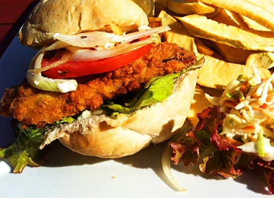 Flying fish goujons picture of round house bathsheba for Good fish sandwich near me