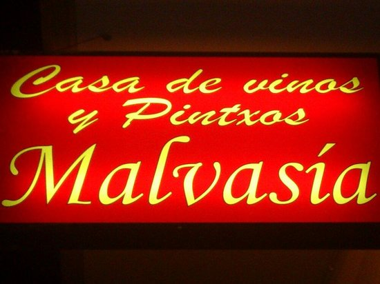 Casa de vinos y pintxos Malvasia: Éste es el cartel