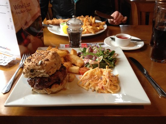 The Anchor Inn: Stilton and onion homemade burger.