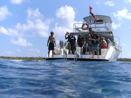 Pirates Point Resort : Looking back at the dive boat