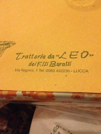 Trattoria Da Leo: Tovaglia in carta paglia
