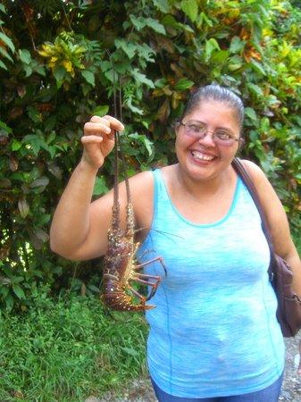 Physis Caribbean Bed & Breakfast : Johanna from the next door restaurant (Soda Johanna) with a fresh lobster for dinner.