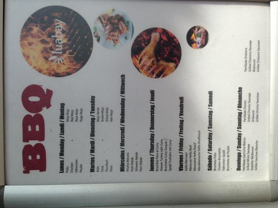 Be Live Family Costa los Gigantes : BBQ menu at the snackbar